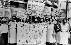 Kheel Center. Women pressers on strike for higher wages. Flickr.